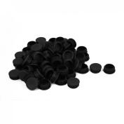 32mm Dia Plastic Blanking End Caps Cover Round Tube Inserts Black 100pcs