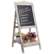 Decorative Vintage White Washed Brown Wood Large Freestanding Chalkboard Message Board Easel - MyGift®