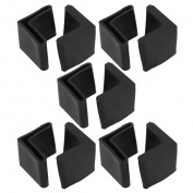 10 Pcs Furniture Angle Iron Legs 28mm x 28mm Black Rubber Foot Covers
