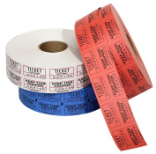 The Coin-Tainer Co. Double Assorted Raffle Ticket Rolls, 2000 Count, 1 Roll, Colours May Vary