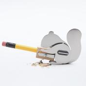 Chipmunk Squirrel Design Portable Handheld Manual Stainless Steel Metal Wood Cute Mini DIY School Kids Office Pencil Sha