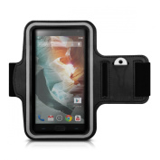 kwmobile Sports jogging armband for OnePlus Two with key pocket and convenient hook and loop fastener in black