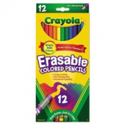 . 684412 Erasable Coloured Woodcase Pencils, 3.3 mm, 12 Assorted Colours/Set