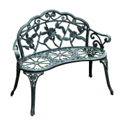 100cm Cast Iron Antique Rose Style Outdoor Patio Garden Park Bench