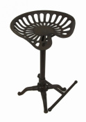 Rustic Brown Adjustable Cast Iron Swivel Tractor Seat Stool w/Footrest