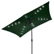 3mx2m Green Solar Aluminium Rectangle Tilt Patio Umbrella 20 LEDs