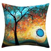 DENY Designs Madart Inc. Aqua Burn Outdoor Throw Pillow, 50cm by 50cm