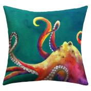 DENY Designs Clara Nilles Mardi Gras Octopus Outdoor Throw Pillow, 46cm by 46cm