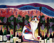 Continental Art Centre HD 045 Rainbow Cat with Wine and Glass Art Tile, 28cm by 36cm