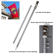 Aluminium 1.8m Spinning Silver Flagpole for Grommet or House Flag