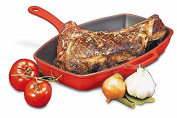 World Cuisine red rectangular grill with cast-iron handle.