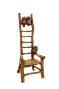 Top Collection Enchanted Story Fairy Garden Tall Faux Wood Chair with 3 Owls Outdoor Statue