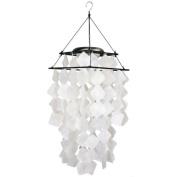 Woodstock Asli Arts Capiz Solar Wind Chime - White Diamonds