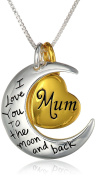"""Two-Toned Sterling Silver with Yellow Gold Flashed Heart """"Mum/Grandma I Love You To The Moon and Back"""" Pendant Necklace,46cm"""