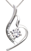 """ALOV Jewellery Sterling Silver """"mother and daughter"""" Pendant Necklace for Birthday, Mother's day,Christmas Gift"""