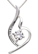 "ALOV Jewellery Sterling Silver ""mother & son forever love"" Pendant Necklace for Birthday, Mother's day,Christmas Gift"