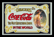 Empire Merchandising 537270 Printed Mirror with Plastic Frame with Wood Effect Featuring Classic Coca Cola Advertisement 30 x 20 cm