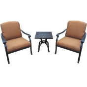 Sunbrella Aluminium Deep Sitting 3-piece Chat Set with 2 Durable Cushioned Club Chairs and 50cm Side Table