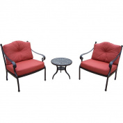 Premium Aluminium 3-piece Chat Set with 1 Side Table 2 Deep Seating Chairs and Polyester Cushions For The Back and Seat