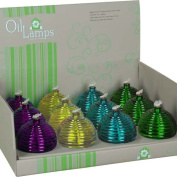 Premier Kites 84012 12-Pack Glass Oil Lamps, Assorted