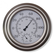 20cm Satin Nickel Finish Decorative Indoor / Outdoor Thermometer and Hygrometer