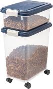 IRIS Airtight Pet Food Storage Container Combo, 11.4l, 11.4l, Navy