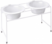 Platinum Pets White Modern Double Diner Stand, with Two 4 Cup Rimmed Bowls, White