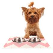 "Kess InHouse Catherine McDonald ""Sweet Kisses"" Pink Chevron Feeding Mat for Pet Bowl, 46cm by 33cm"