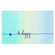 "Kess InHouse Monika Strigel ""Be Happy Aqua"" Simple Blue Pet Bowl Placemat for Dog and Cat Feeding Mat, 46cm by 33cm"