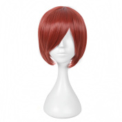 Andao Short Orange Wig Costume Wigs Short Red Hairpiece Be3021