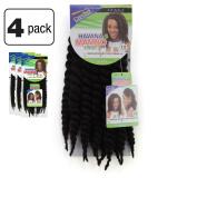 Janet Collection Havana Medium MAMBO TWIST Braid 30cm (1 - JET BLACK) 4 Packs Deal