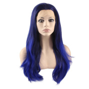Mxangel Long Straight Lace Front Synthetic Hair Jewellry Blue Ombre Wig