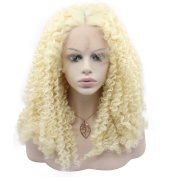 Mxangel Long Lace Front Synthetic Hair Blonde Curly Wig Natural For White Women