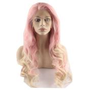 Mxangel Long Wavy Pink Blond Fashion Wig Heat Friendly Fibre Lace front Cosplay Wig