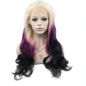 Mxangel Long Wavy Lace Front Synthetic Hair Three Tone Blond Purple Black Ombre Wig