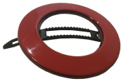 French Amie Magic Circle Small Red Round Celluloid Handmade Metal Free Hair Clip Barrette for Girls