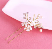 Leiothrix Elegant Homemade Golden Flower Pistil Alloy Hair Pins with Rhinestone & Pearl for Women and Girls Apply to Any Occasion