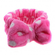 Healthcom Soft Fleece Wash Shower Headband Makeup Cosmetic Hairband Hair Accessory,Hot Pink