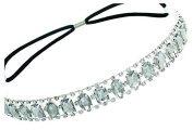 Elastic Headband with Oval and Rectangle Gems and Sparkling Crystal Accents | Crystal/White