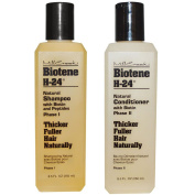 Mill Creek Botanicals Biotene H-24 Biotin and Keratin Shampoo and Condtiioner Bundle For Thinning Hair, Hair Loss and Receding Hair Line With Aloe Vera, Sage, Panthenol and Vitamin E, 250ml each