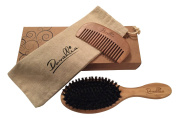 Boar Bristle Hair Brush Set for Women and Men - Designed for Thin and Normal Hair - Adds Shine and Improves Hair Texture - Wood Comb and Gift Bag Included