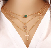 Leiothrix Extraordinary Eye Leaf & Cross Alloy Golden Necklace for Women and Girls Apply to Weeding Party Casual