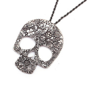 Leiothrix Vintage Carving Skull Long Antique Silver Alloy Necklace for Women and Girls Apply to Weeding Party Casual