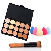 ACE Fashion Women Professional 15 Colour Makeup Cosmetic Contour Concealer Palette Make Up+Sponge+Concealer Brush