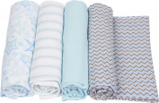 MiracleWare Muslin Swaddle Blanket, Blue Chevron Collection, 4 Piece