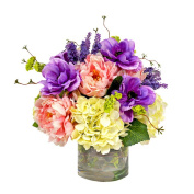 Colourful Anemone, Hydrangea, & Peony Arrangement In Acrylic Water Filled Vase