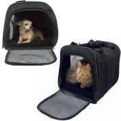 Pawfect Pet-Large Black Soft Sided Travel Pet Carrier for Dog or Cat. Airline Approved For In Cabin Under Seat Storage.