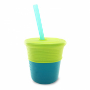 Silikids Siliskin Silicone Straw Cup, Teal/Lime