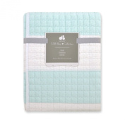 Just Born 100% Cotton Nursery Quilt with Awning Stripe, Aqua
