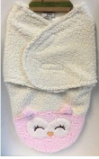 Chick Pea Swaddle Blanket/Bag Sherpa White/Pink Owl